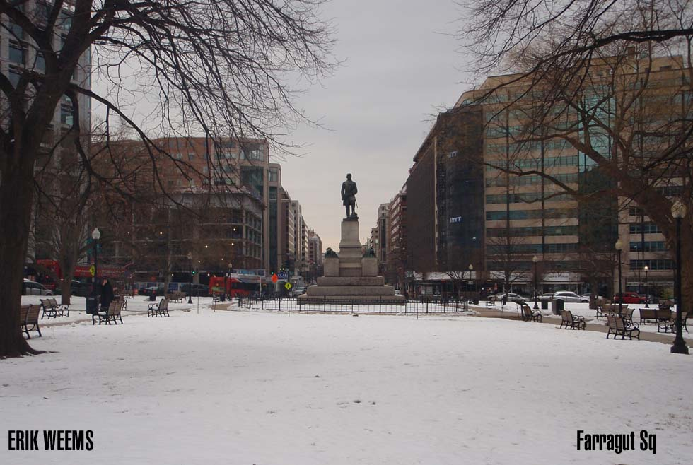 Farragut Square in the Snow