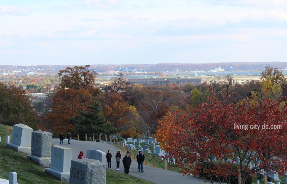 Arlington Cemetery looking to the Pentagon and Washington DC