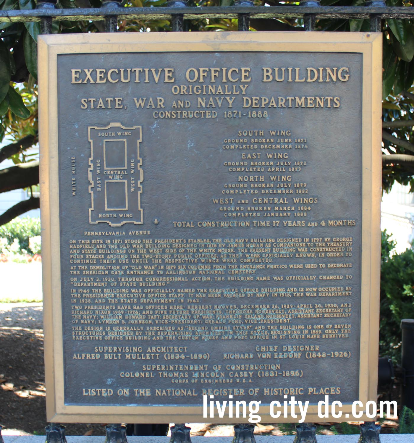 History plaque Old Executive Office Building