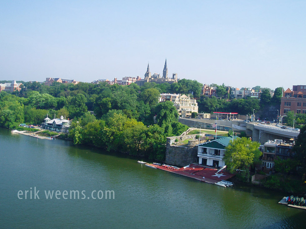 Georgetown viewed from atop Key Bridge - Washington DC