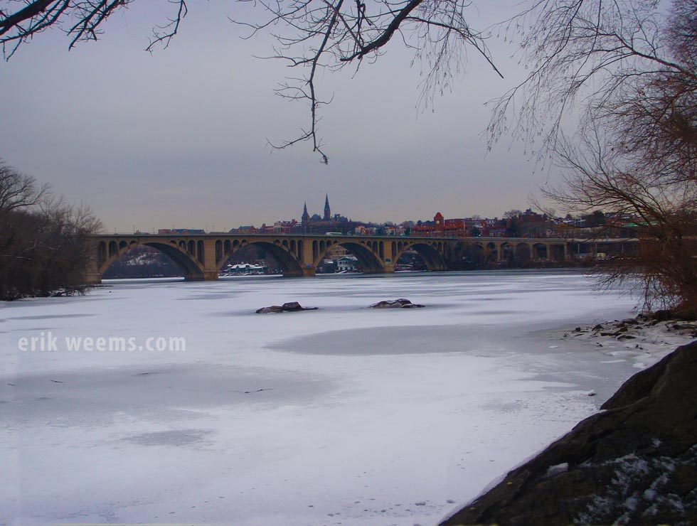 Key Bridge over ice on Potomac Winter