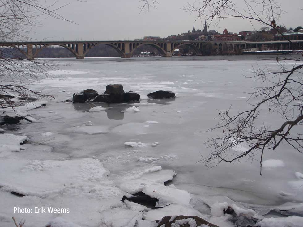 Key Bridge over ice