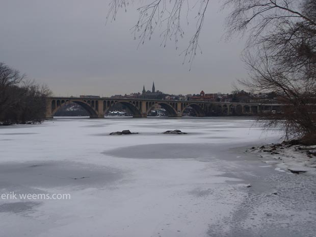Ice and Snow atop the Potomac - Georgetown University and Key Bridge in Distance