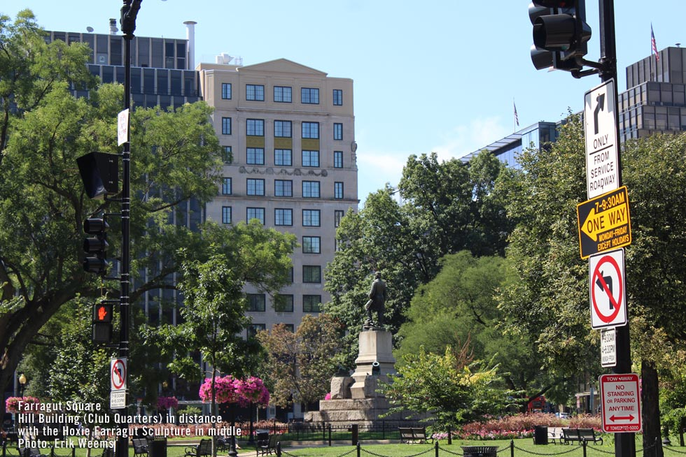 Farragut Square with Vinnie Hoxie Statue in middle
