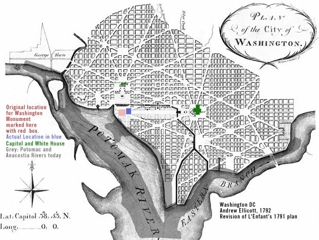 Comparison Map Washington DC monument 1792 to today