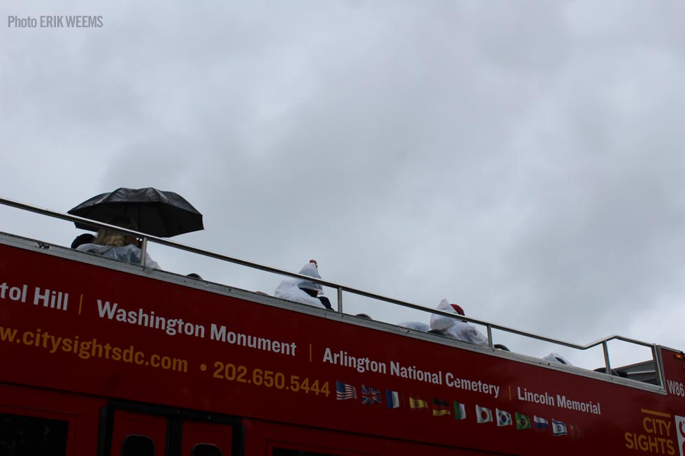 Sightseeing Bus in rain Washington DC