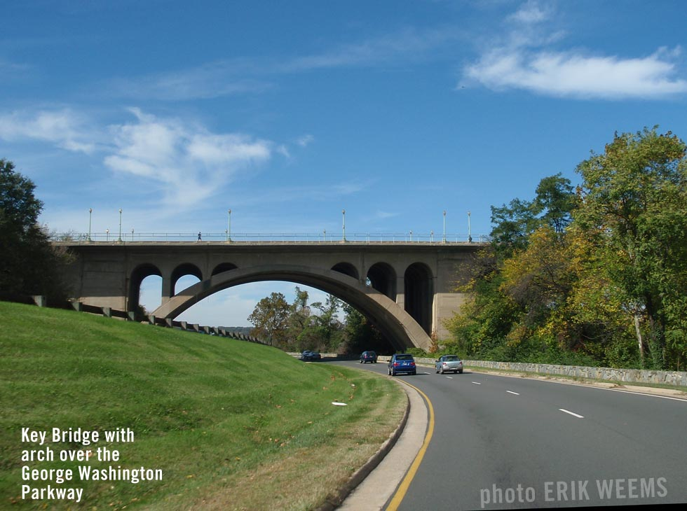 Key Bridge with arch over George Washington Parkway