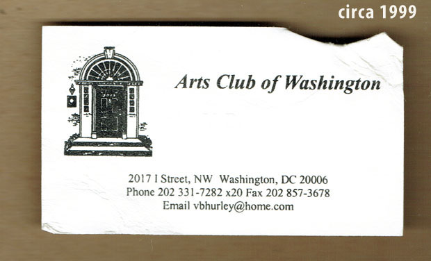 Arts Club of Washington DC - 1998 or so business card