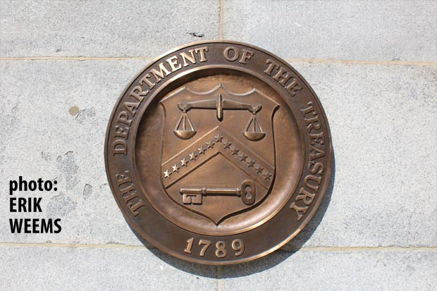 Department of Treasury seal on building 15th Street Washington DC