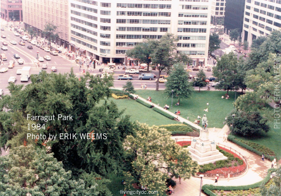 Ariel Farragut Park 1984 Washington DC  from air